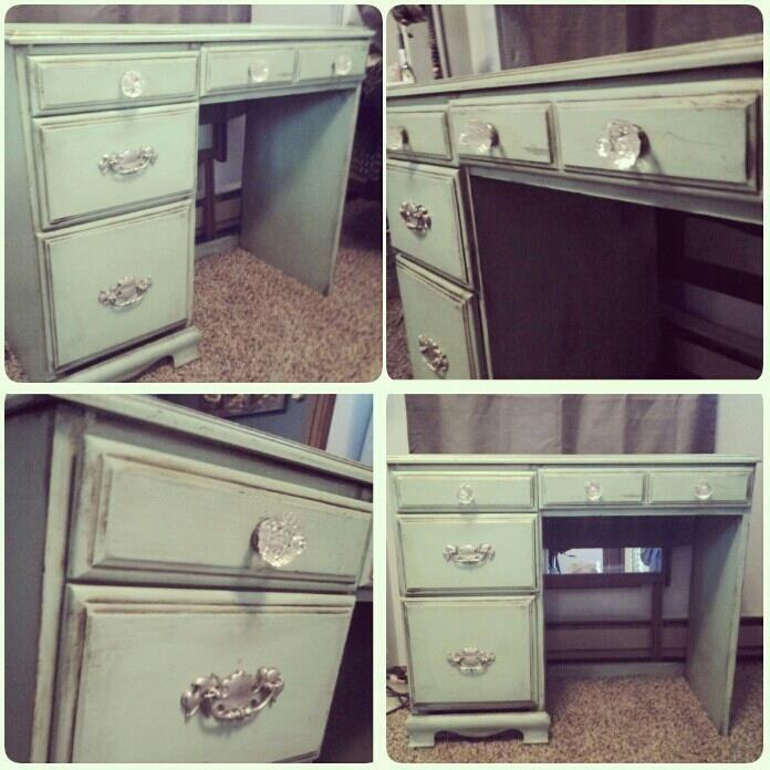 Refurbished This Old Brown Desk Using Color Place Paint, Bronze Valspar  Color Glaze And Valspar