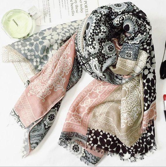 Châle foulard motifs Zellige marocain hijab muslim par JasmineandCo ... 74c40855727