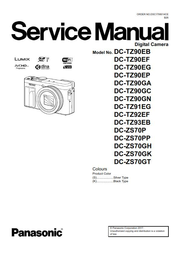 Panasonic Lumix DC ZS70 TZ90 Digital Camera Service Manual