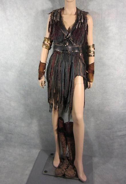Roman Slave Dress, Beaded, Stunt Harness, Calf High -4054