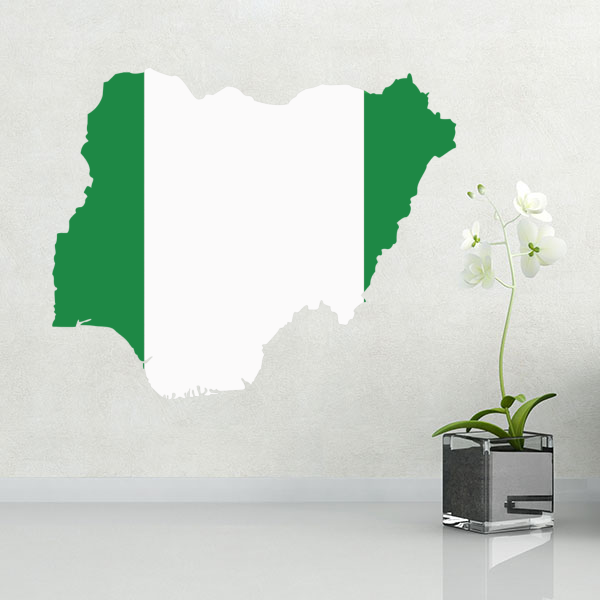 5 00 Nigeria Flag Map Sticker Diythinker Stickers Custom Wall Sticker Map Of Nigeria