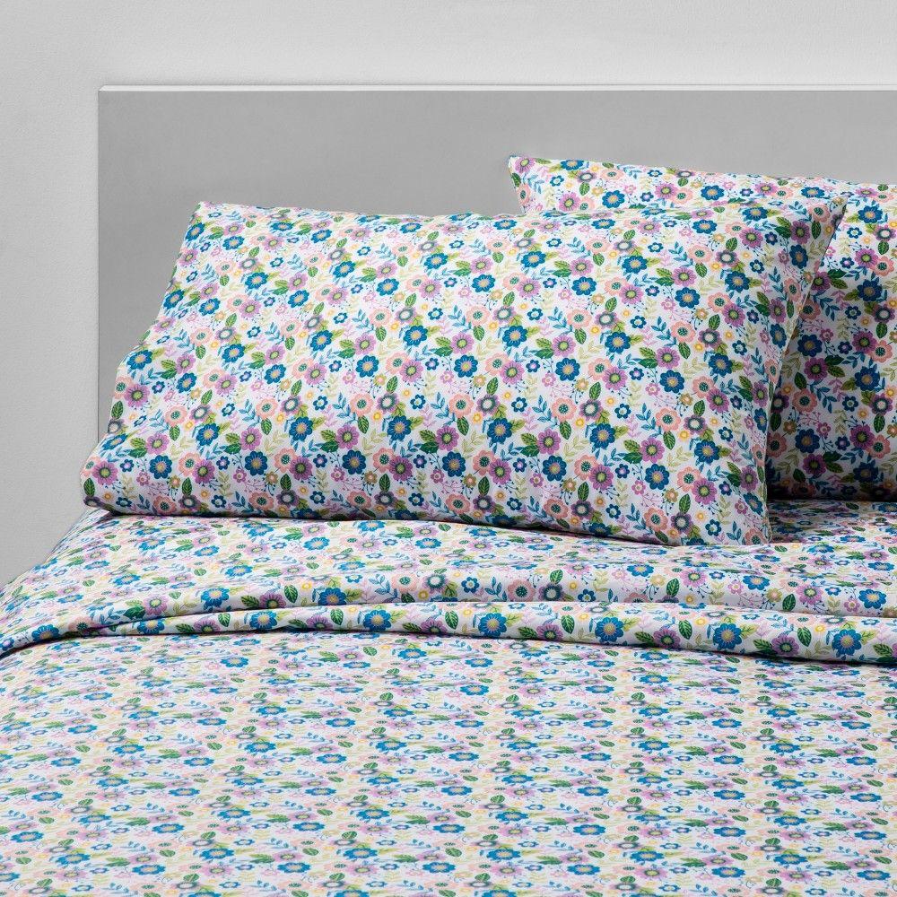 4pc Full Botanic Beauty Microfiber Sheet Set Pillowfort