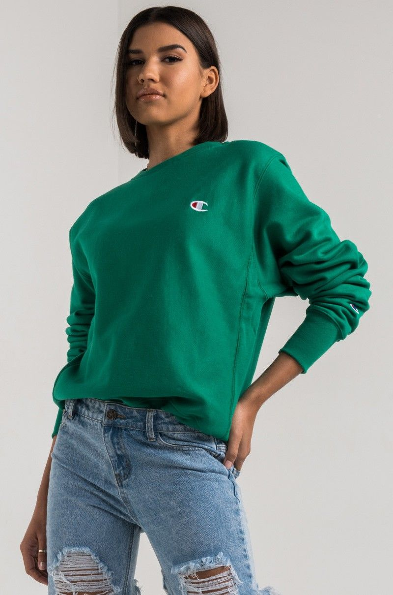 Front View Champion Womens Reverse Weave Crew Sweatshirt In Kelly Green Womens Crewneck Teenager Outfits Clothes For Women [ 1209 x 800 Pixel ]