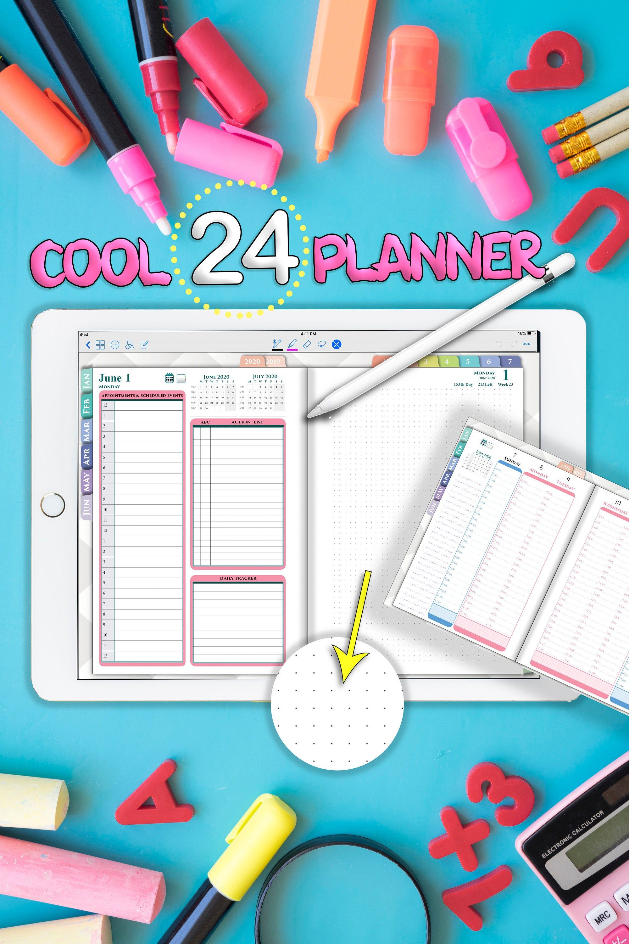 24 Hour Planner For Digital Ipad Hourly Planners Daily