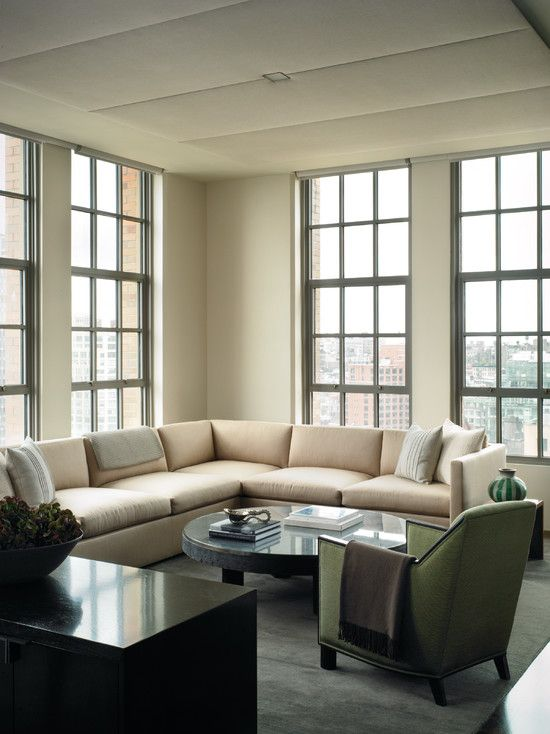 Charmant House Design Styles Create Comfortable Sensation With Attractive Photo:  Fabulous Family Room Cream Sectional Sofa