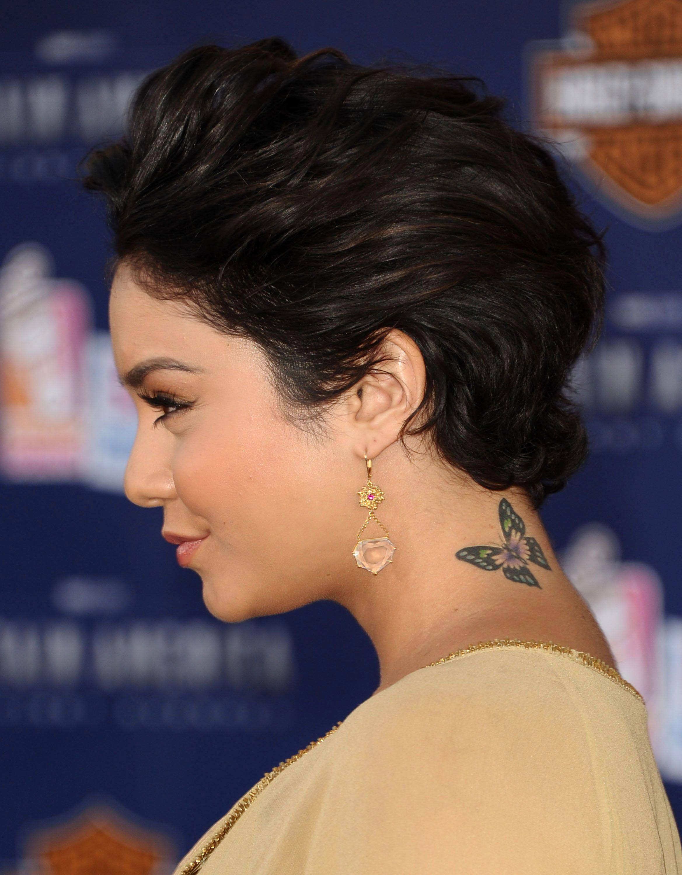 Tattoos on neck (With images) Vanessa hudgens short hair