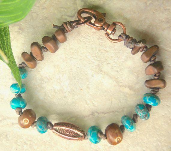 Rugged Mens Turquoise Bracelet Tribal By Braceletsofblueridge