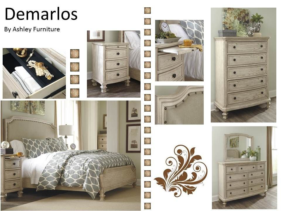 The new Demarlos collection by Ashley  I love the shabby chic feel of this  group   by Ashley Furniture The  Demarlos  Collection by Ashley Furniture   Dream Bedroom  . Ashley Bedroom Collection. Home Design Ideas