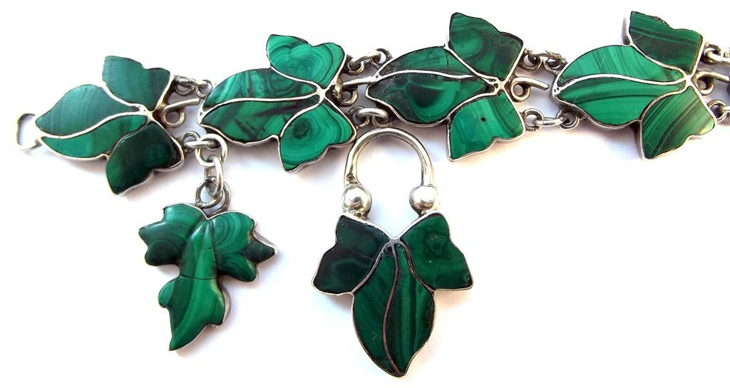 Victorian Scottish Sterling Malachite Ivy Leaf Bracelet Charm