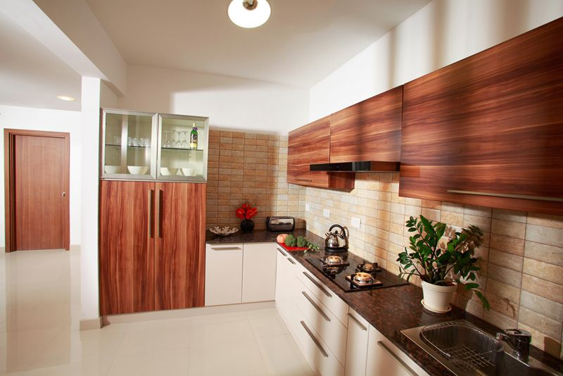 Apartment Interior Design India modular kitchen - purva highlands - savio and rupa interior