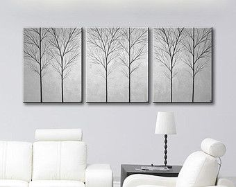 SALE Wall Art Hangings Canvas Original Tree Painting Decorative Modern Home Living Room Decor Grey Gray