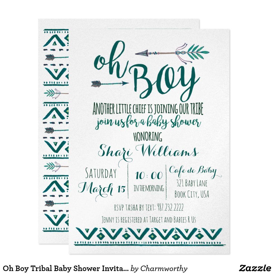 Oh Boy Tribal Baby Shower Invitation -Green | Tribal baby shower ...