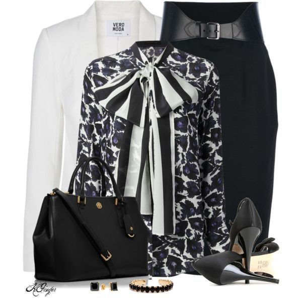 """""""Classic Office Style with a Bow"""" by kginger on Polyvore"""