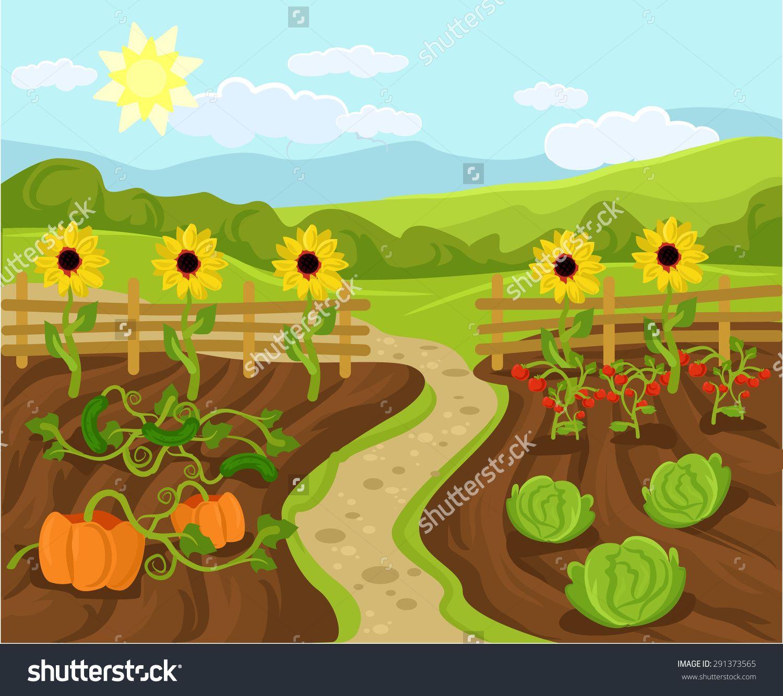 Vector Garden Flat Cartoon Illustration 291373565 Shutterstock Art Drawings Simple Cartoon Illustration Illustration