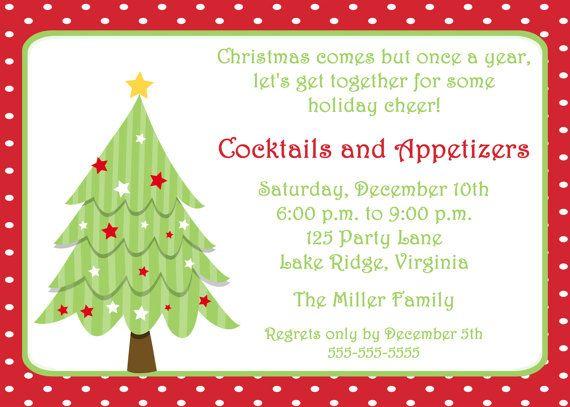 Printable Christmas Tree Invitation Cards, borders, frames - invitation wording for christmas dinner party