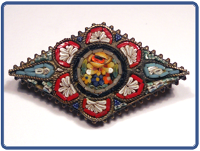 antique micromosaic   DELIGHTFULLY DETAILED ANTIQUE MICROMOSAIC BROOCH