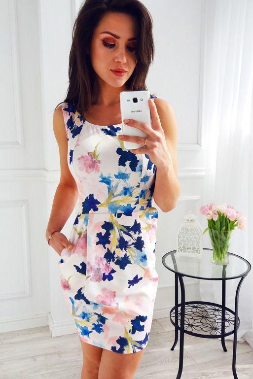 Sukienka Bombka We Wzor Akwarelowych Kwiatow Fashion Casual Dress Dresses