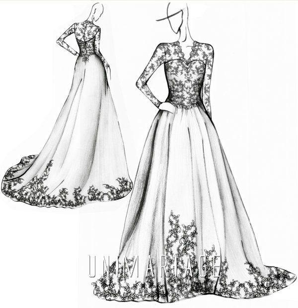 Romantique robe de mariage appliques manches longues satin uni0423 croquis de mode pinterest - Photo romantique noir et blanc ...