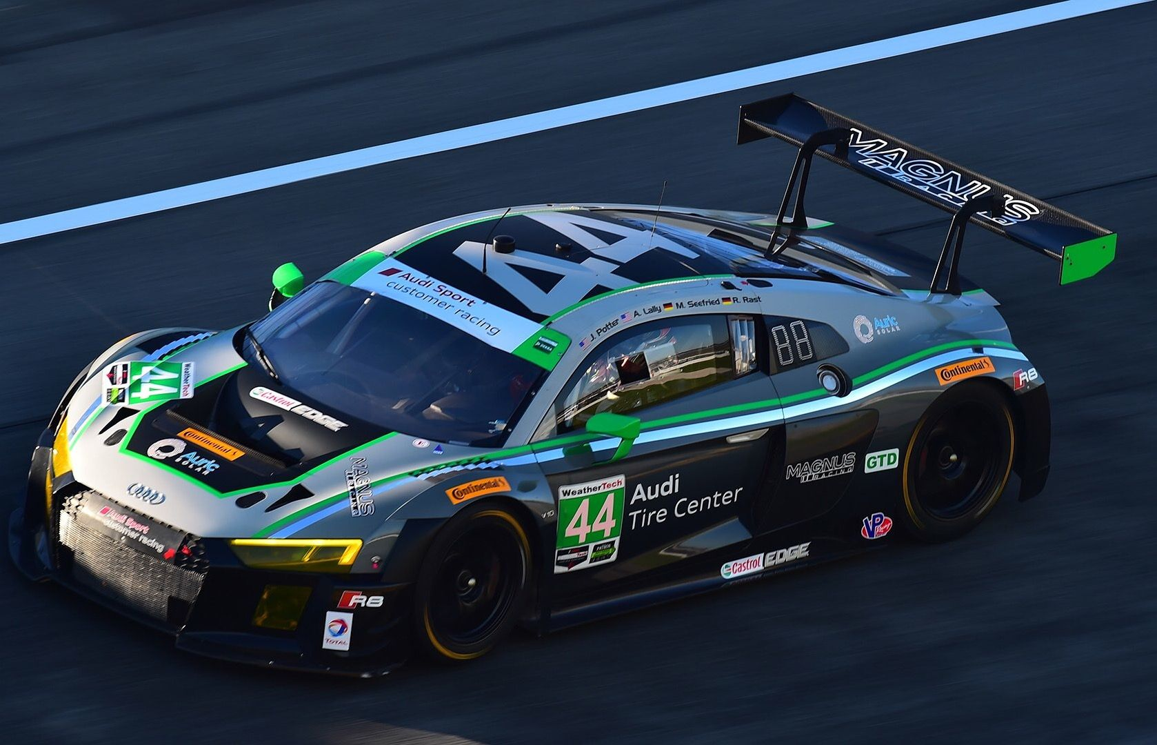 The #44 Magnus Racing Audi R8 LMS wins the twenty-four classic