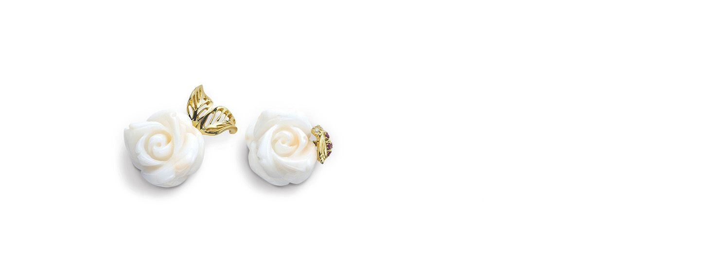 9d21bd9484 Rose dior pré catelan earrings in 18k yellow gold and white coral ...