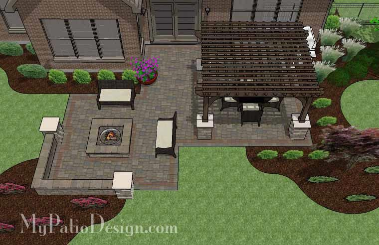 "Fun Fire Pit Patio Design with Pergola | 560 sq ft | Download Installation Plan, How-to's and Material List @Mypatiodesign.com #""patiodecorating"" #patiodesign"