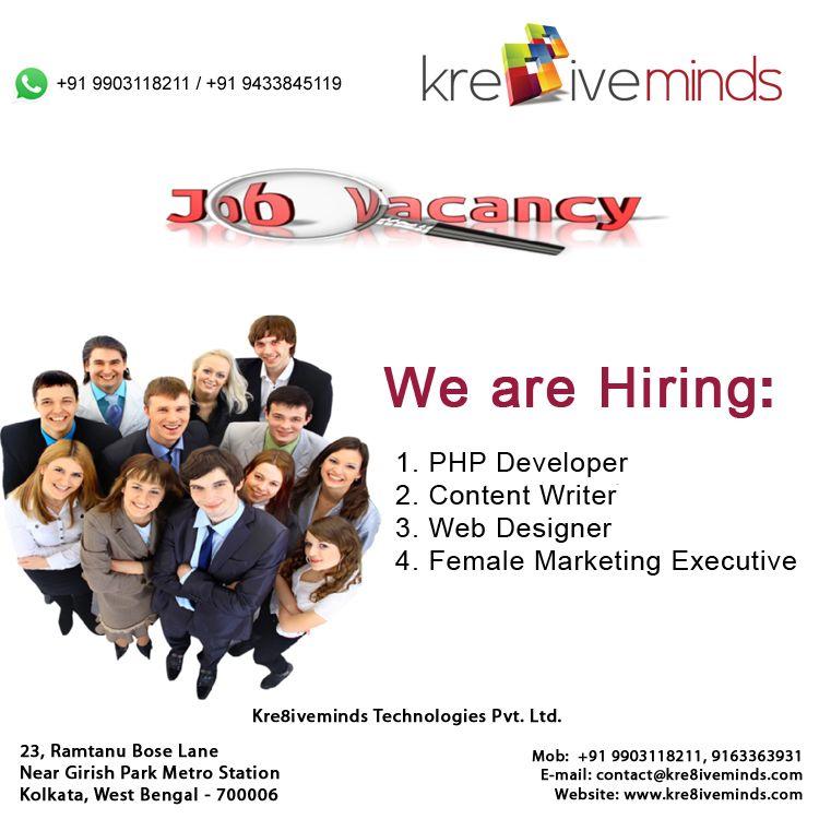 Different Job Vacancies For Php Developer Content Writer Web Designer Female Marketing Executive For More Details Co Web Design Development Banner Design