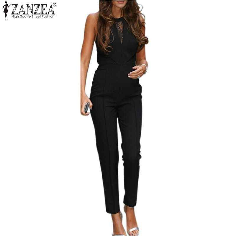 New ZANZEA 2016 Elegant Rompers Women Jumpsuit Fashion Bodysuit Sleeveless Lace Patchwork Romper Playsuits Long Pants Plus Size