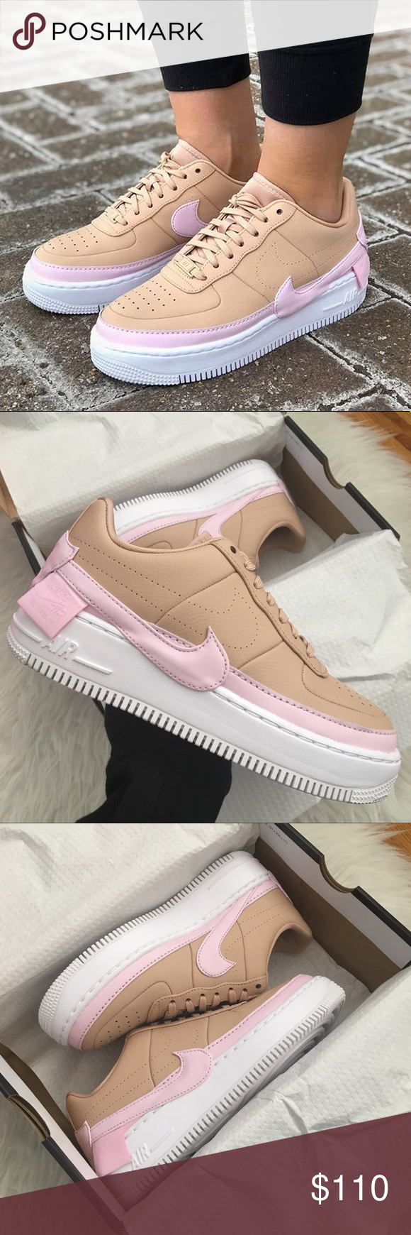 Nike Air Force 1 Jester Trainers Bio Beige Pink Force White