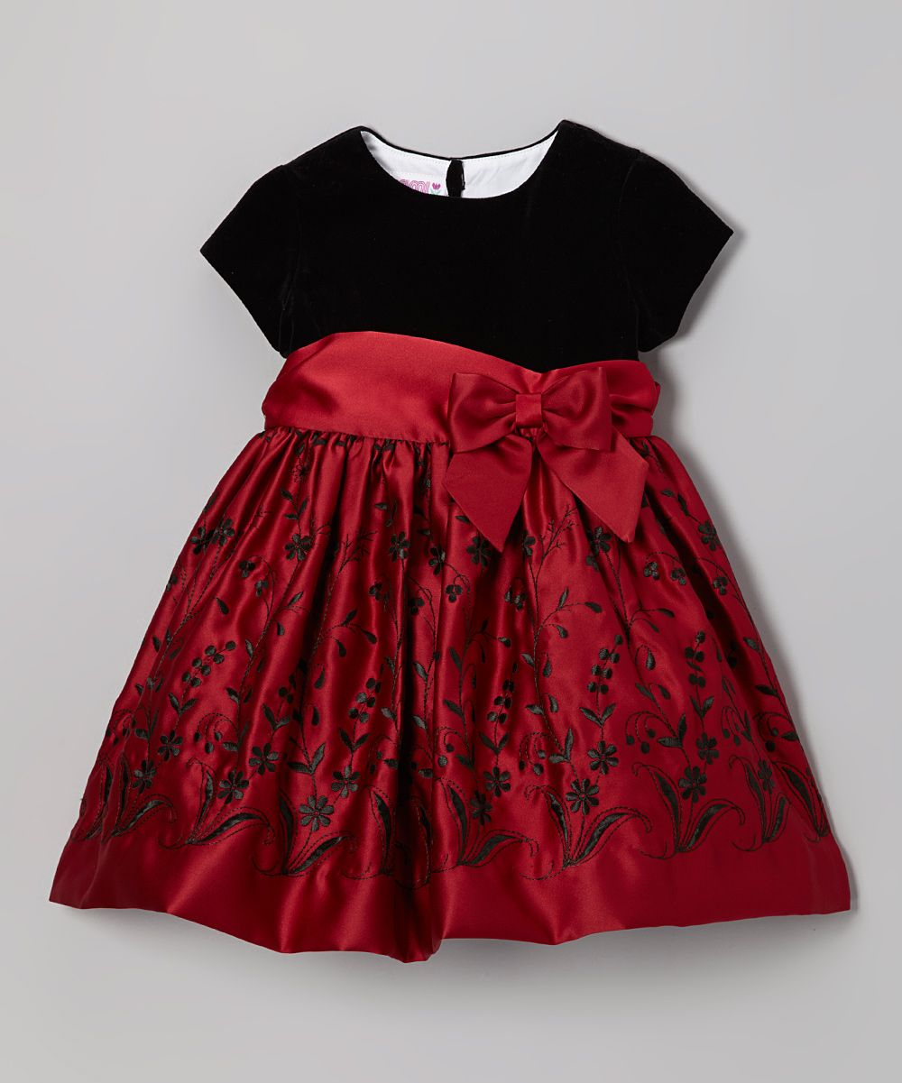 c1a1d013f Black & Berry Floral Satin Dress - Toddler & Girls | Daily deals for moms,  babies and kids