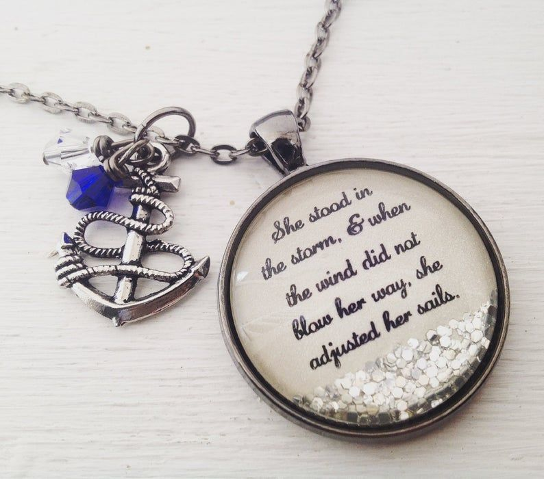 Personalized jewelry, Inspirational necklace/She stood in