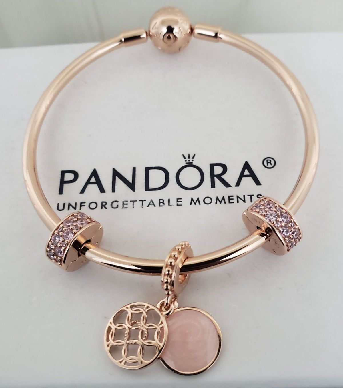 Authentic Pandora Rose Bangle SET in 2021 | Pandora bracelet ...