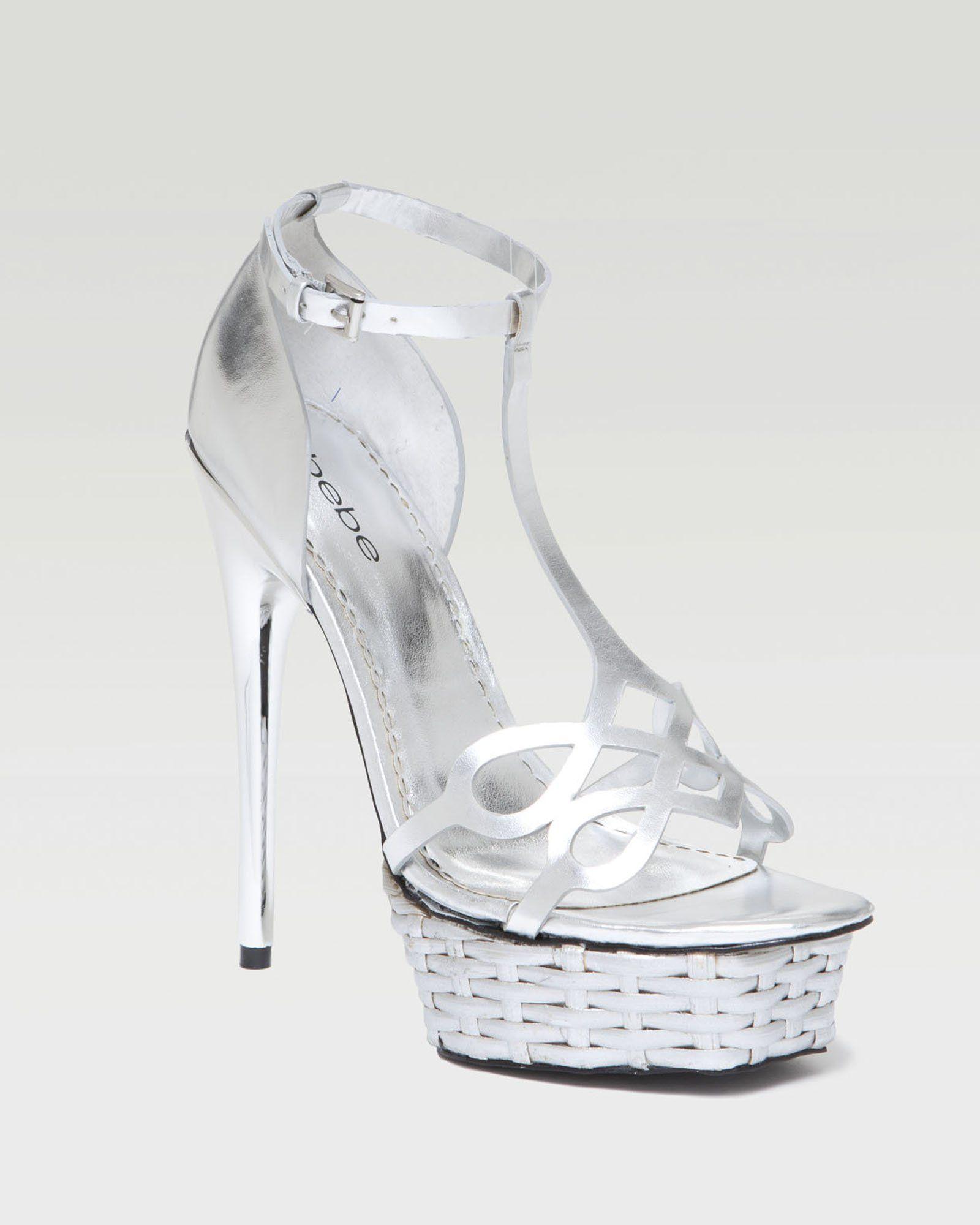 So pretty! Love silver! {bebe    Francis Woven Metallic Platform Sandal}