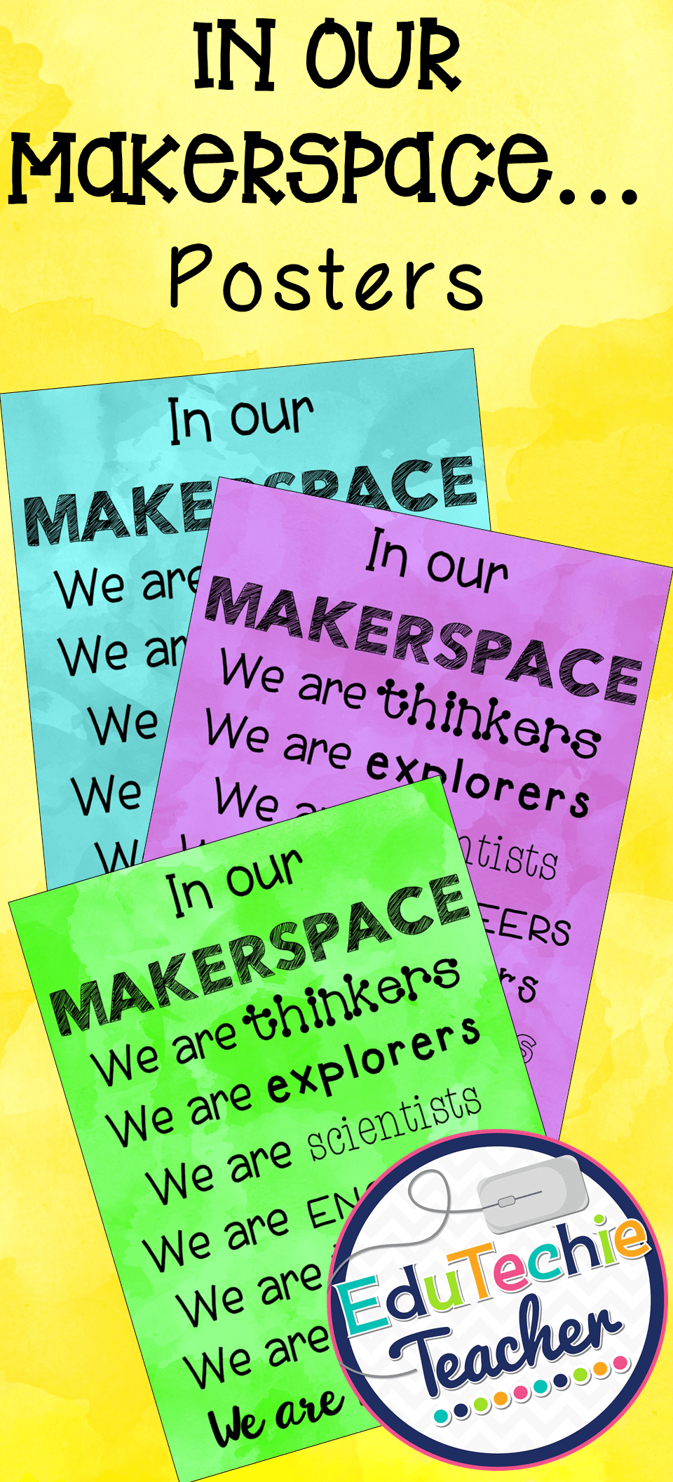 Makerspace Posters Makerspace Or Stem Lab Signs On Watercolor Makerspace Makerspace Posters Makerspace Library