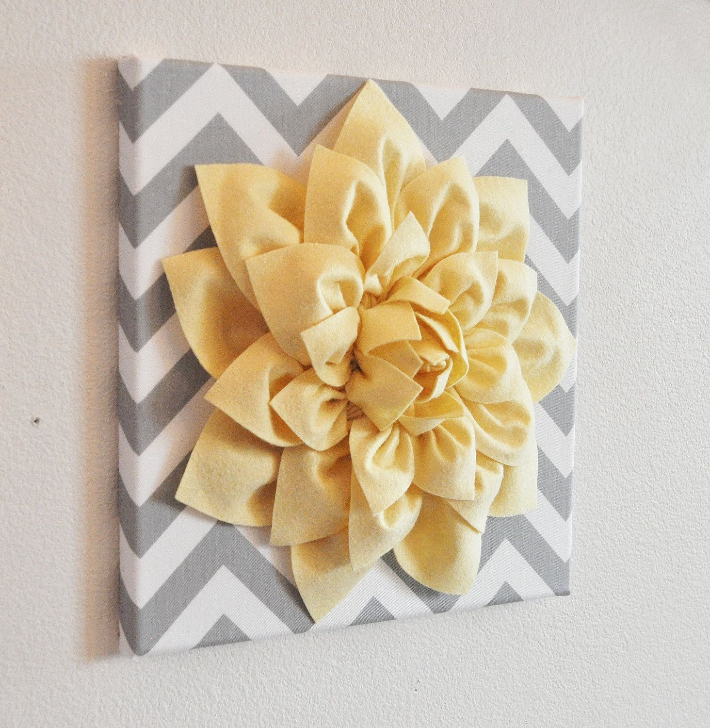 Wall Flower -Light Yellow Dahlia on Gray and White Chevron 12 x12 ...