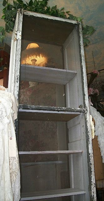 Antique Window Screen & Old Door Cabinet | Crafty Stuff that ... on old-fashioned toilets, old-fashioned windows, old-fashioned door locks, old-fashioned storm doors, old-fashioned shopkeepers bell, old-fashioned porches, old-fashioned light fixtures, old-fashioned door hardware,