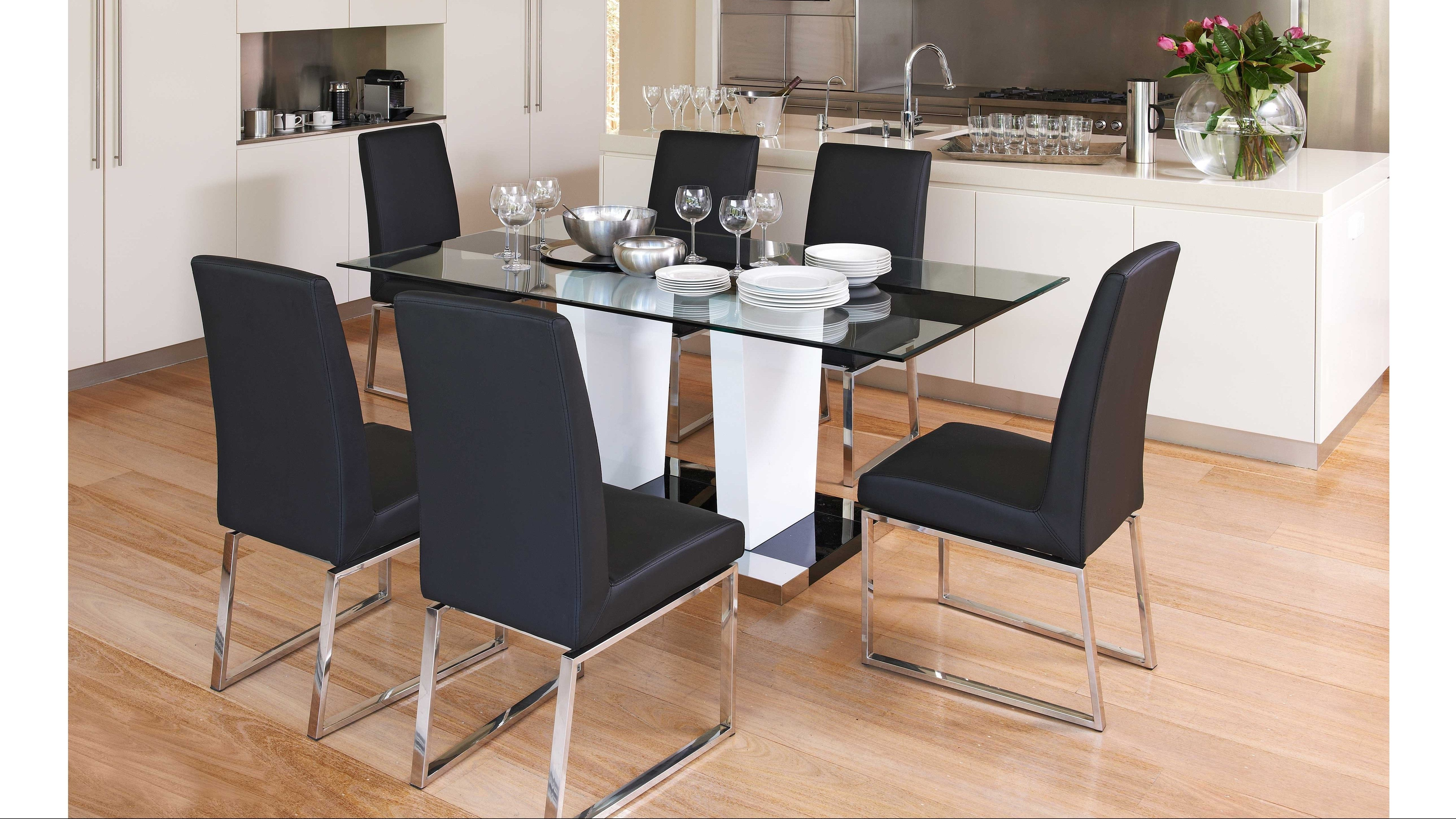 Exclusive To Harvey Norman The Beta 7 Piece Dining Setting Is A Modern And Sleek Addition Your Area Set Includes Table 6 Chairs