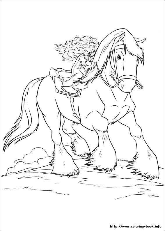 Brave Merida And Angus Coloring Page Kicks And Whinnies