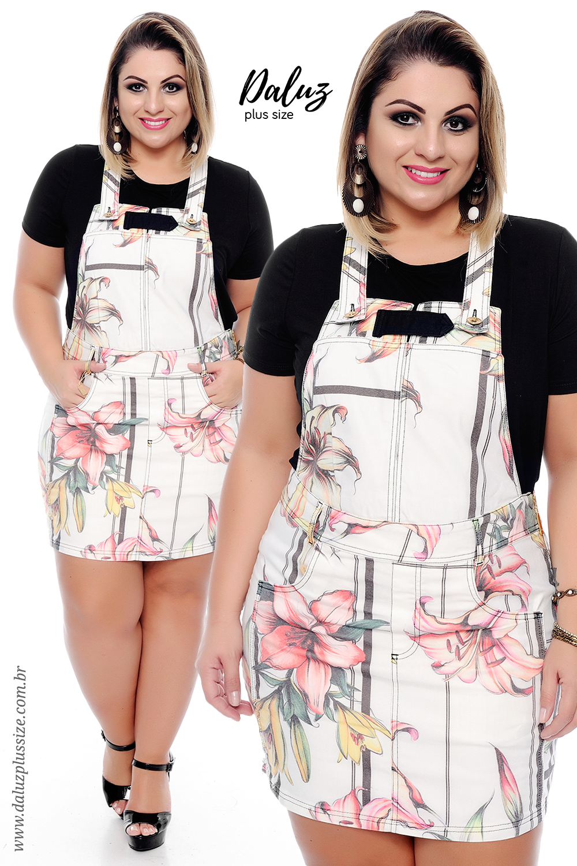 717b0e05a Macaquinho Saia Plus Size Kirsten - Coleção Primavera Verão Plus Size -  daluzplussize.com.br