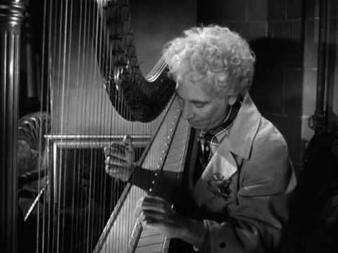 Happy Birthday to Classic Movie Legend, Harpo Marx, born on November 23, 1888!  Harpo, of course, never spoke a word in those fabulous Marx Brothers comedies, but needless to say, he was a comic genius and not-too-shabby (HUGE understatement) on the harp!  That said, without further adieu, a quick tribute to the 'strong silent type' Harpo Marx!