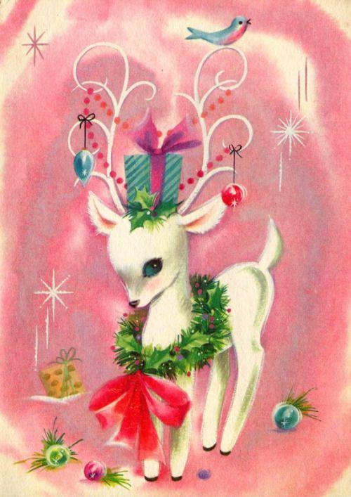 vintage pink christmas card with adorable reindeer. Black Bedroom Furniture Sets. Home Design Ideas