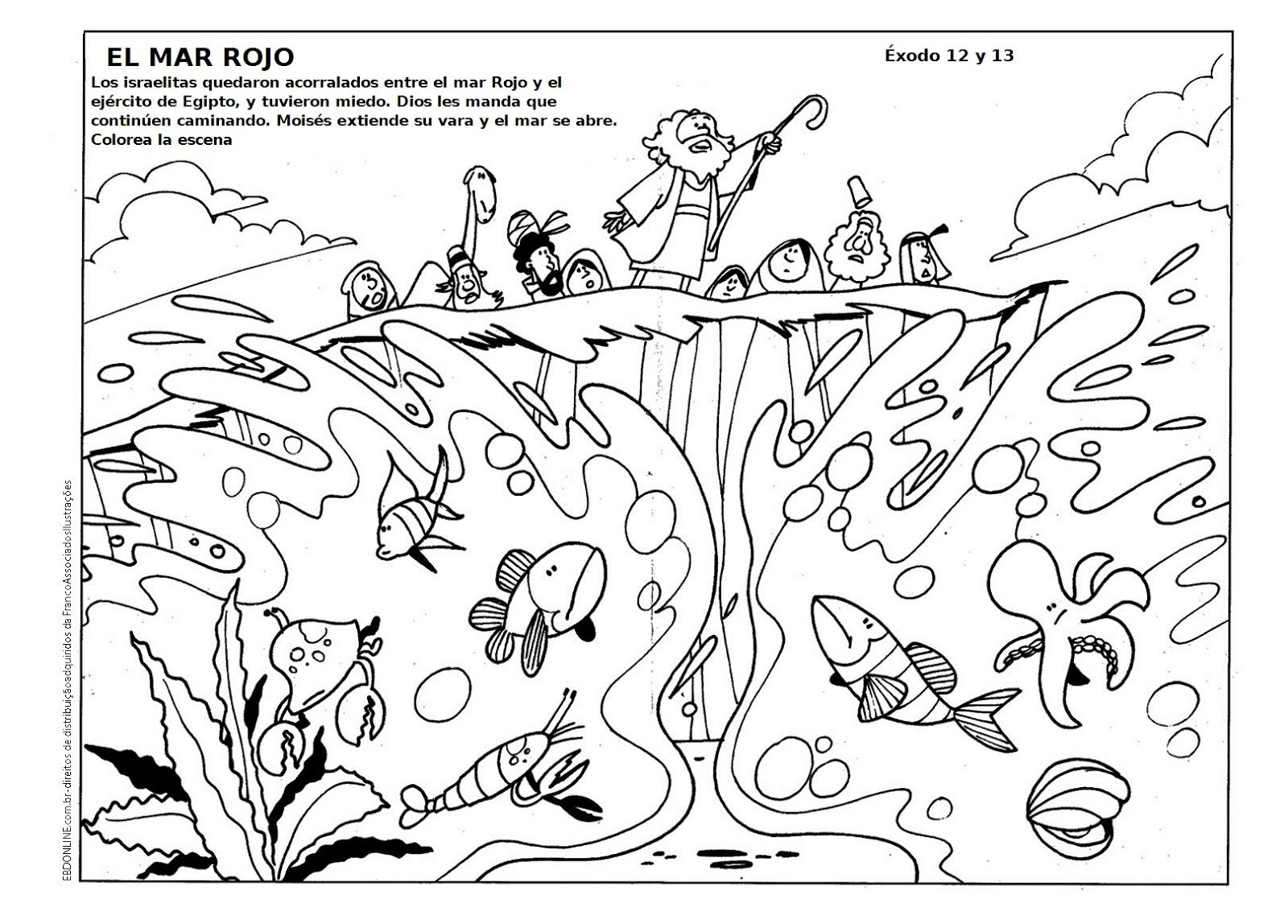GOOD NEWS FOR KIDS: Coloring. Moses Crossing the Red Sea | bible ...