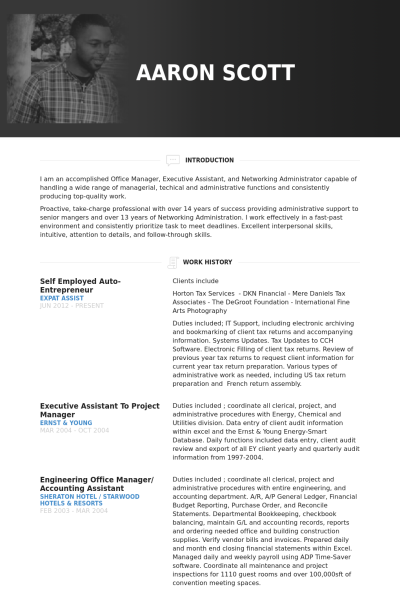 self employed auto entrepreneur resume example business management