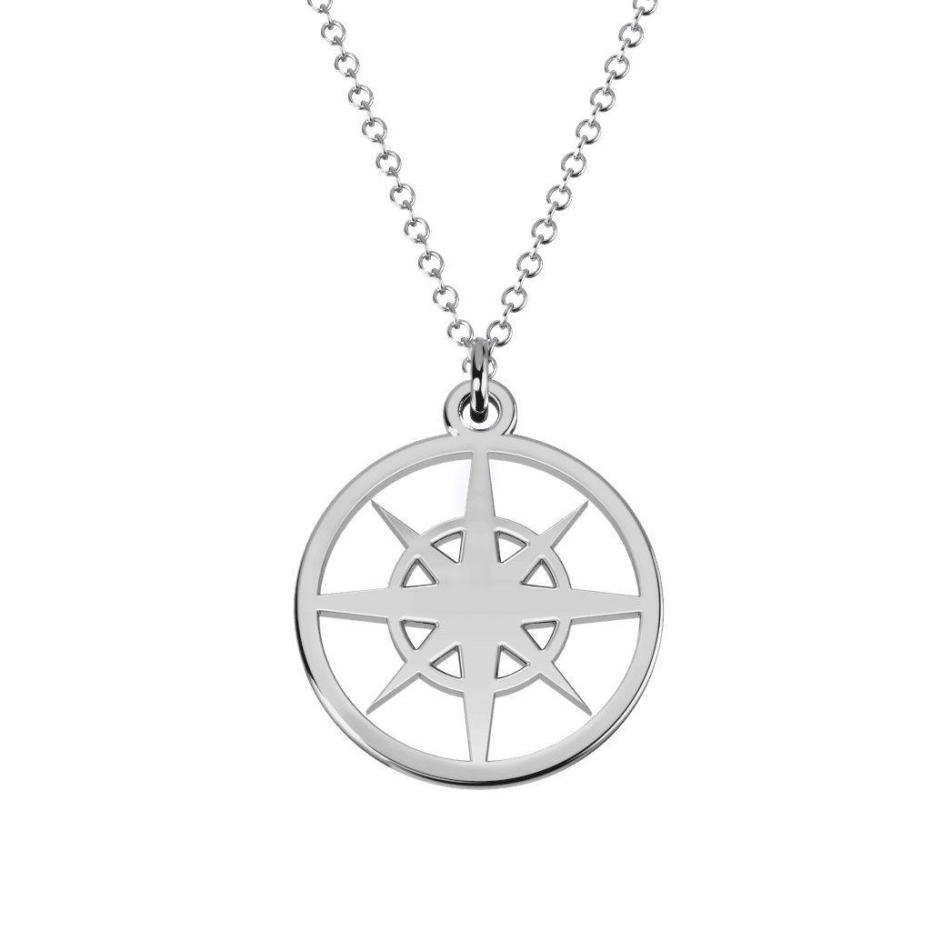 Compass Cutout Disc Necklace