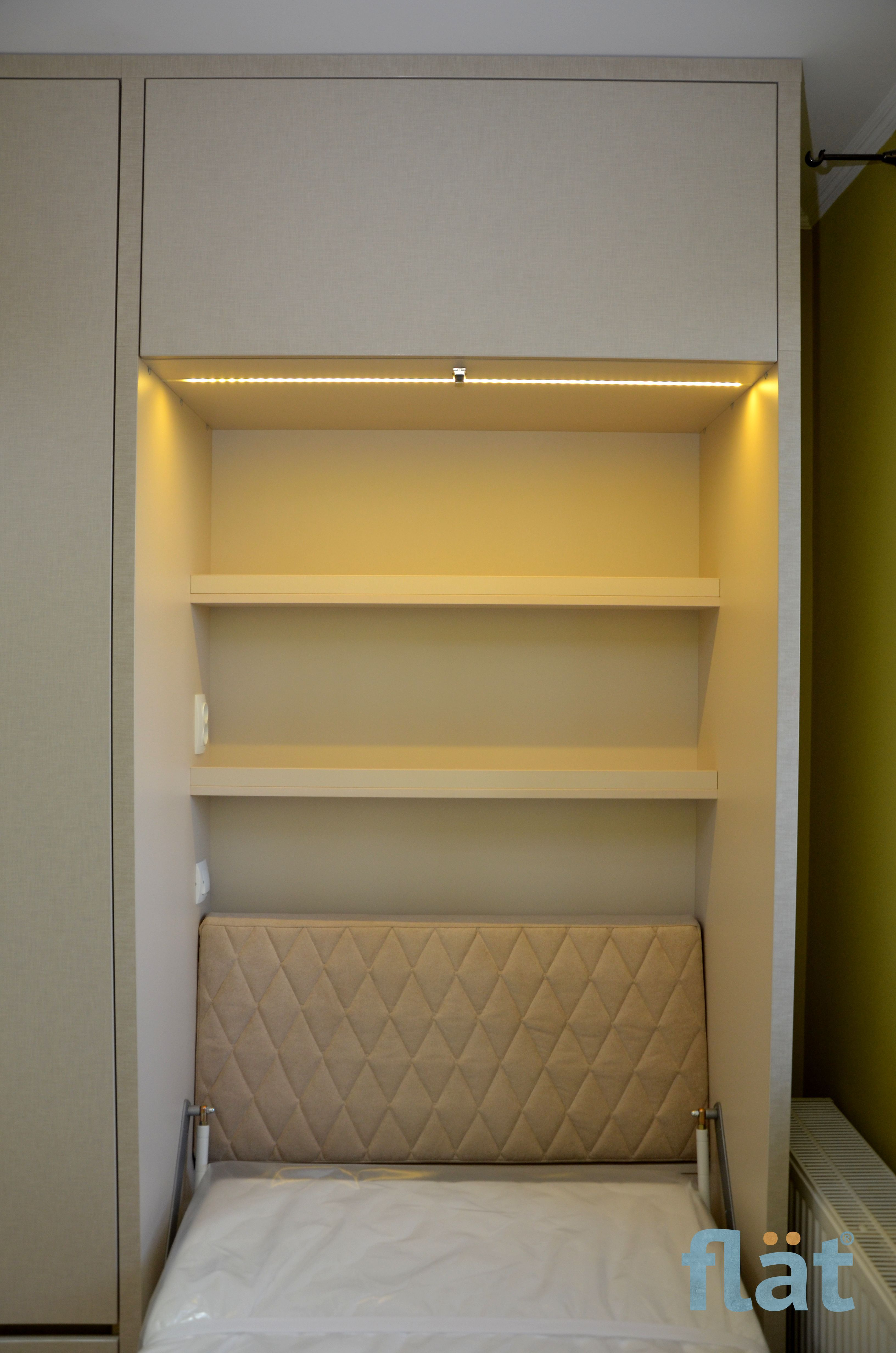 Single wall bed with table and mass storage. Одноместная
