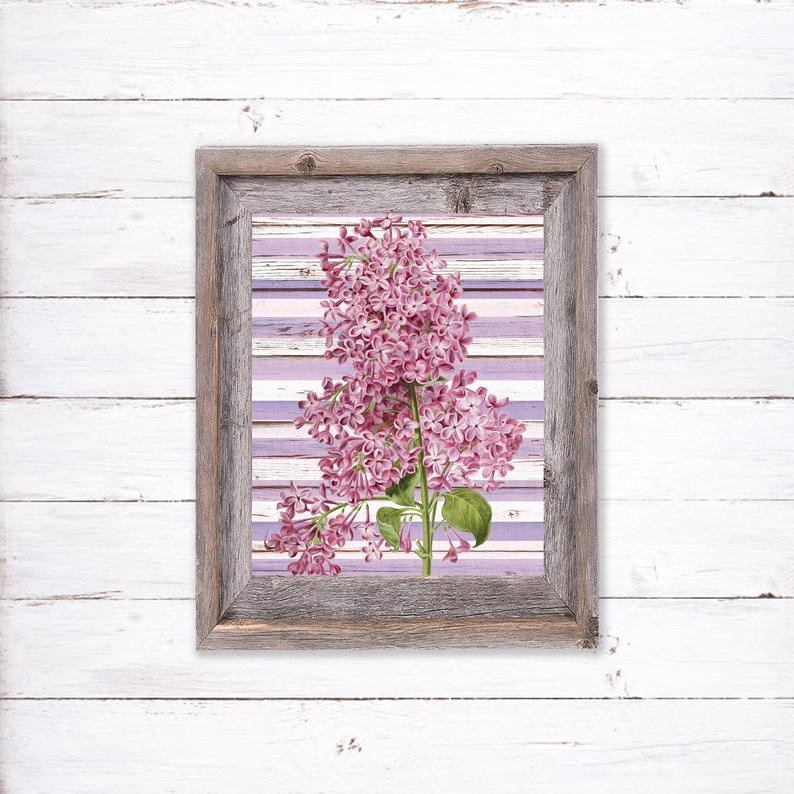 Lilac Printable Vintage Bouquet Home Decor Country Flower