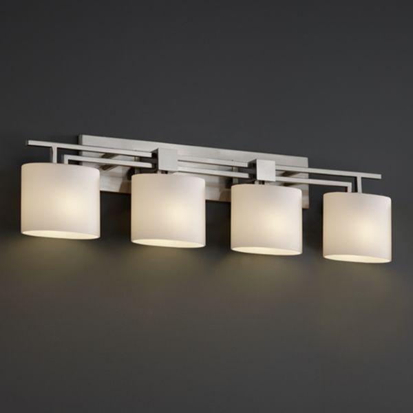 Justice Design Group 4 Light Oval Opal Brushed Nickel Bath Bar Fixture