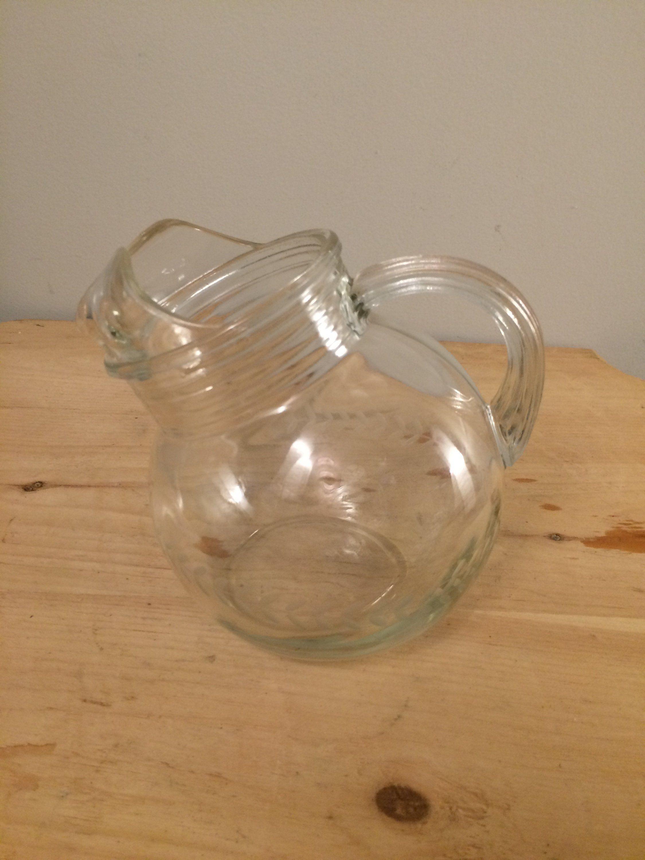 Vintage Tilted Glass Pitcher Ball Pitcher Etched Glass Pitcher Glass Pitchers Wheat Design Pitcher