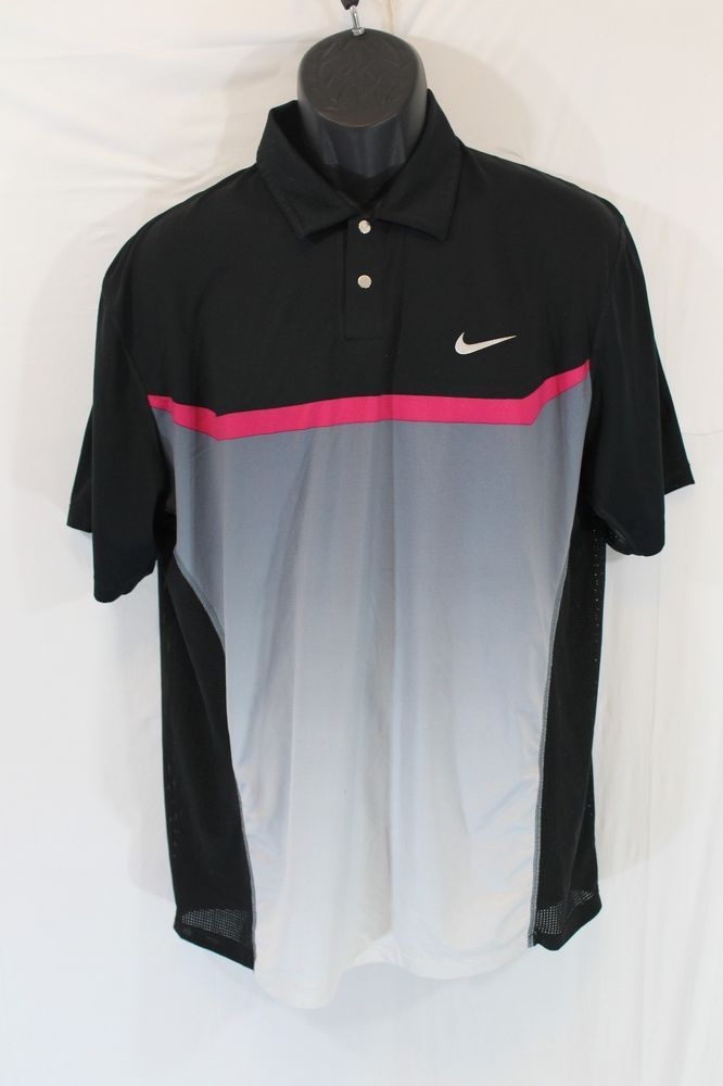 1d397afe5 Nike Tiger Woods Collection Mens Polo Golf Shirt Medium Black Pink Gray Dri  Fit  TigerWoods  PoloRugby