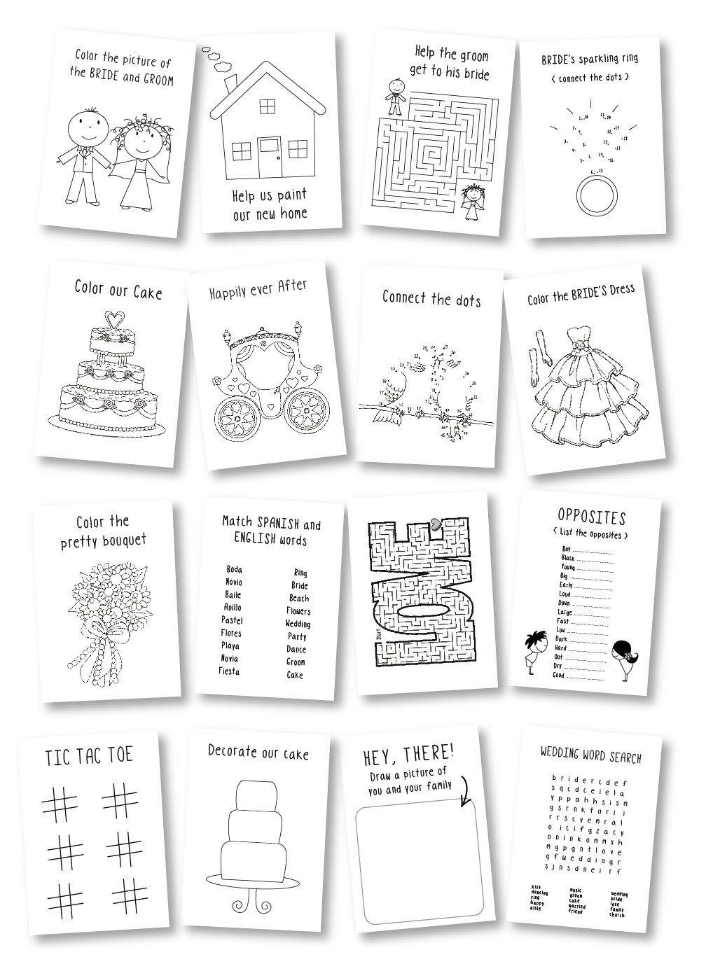 coloring book wedding : Kids Wedding Coloring Book Wedding Favor Kids Wedding Activity Book Rustic Wedding Activity Book With Crayons Set Of 6