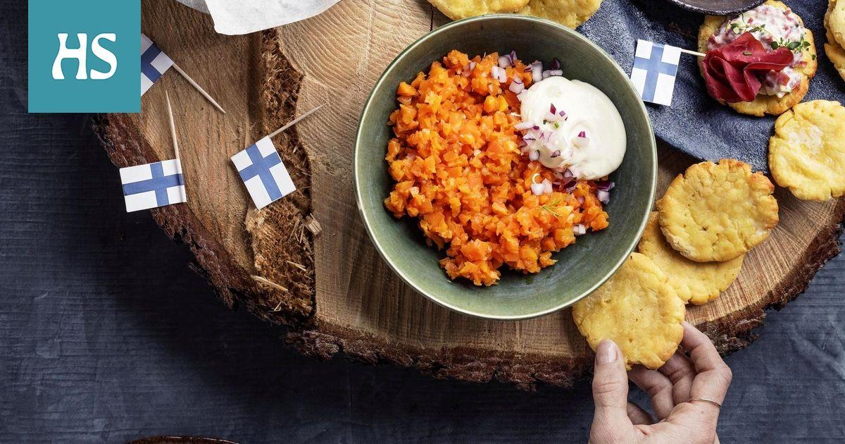"""Päällystä """"porkkanakaviaarilla"""" vaikkapa pienet perunarieskat."""